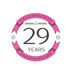 twenty nine years anniversary celebration logo vector image