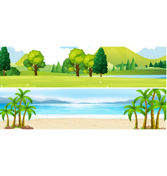 two scenes of park and beach vector image