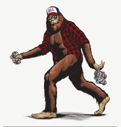 walking usa american hillbilly sasquatch vector image