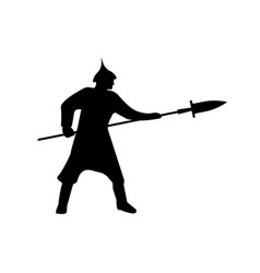 warrior silhouette on white background vector image