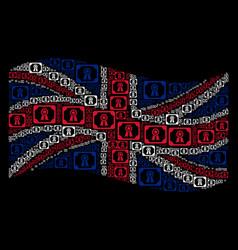 Waving united kingdom flag mosaic of diploma icons vector