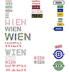 Wien text design set vector