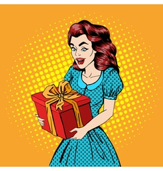 Woman with Gift Excited Woman Happy Pop Art vector image