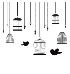 birds and birdcages vector image