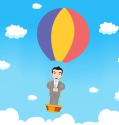 Business man with parachute vector image vector image