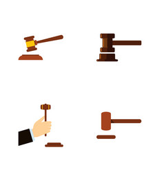 flat icon hammer set of defense hammer law and vector image vector image