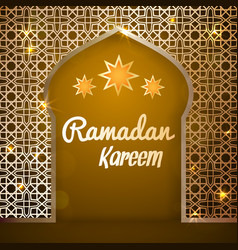 ramadan kareem greeting card - mosque door vector image vector image
