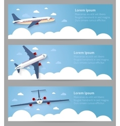 Set of web banners Flight of the plane vector image vector image