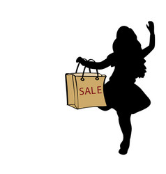 silhouette girl hold bag sale vector image