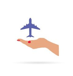 airplane in hand color vector image