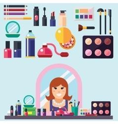 Beauty store Cosmetics mascara gloss lipstick vector image