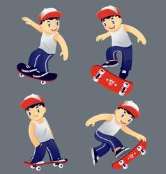 Boy skaters set vector image