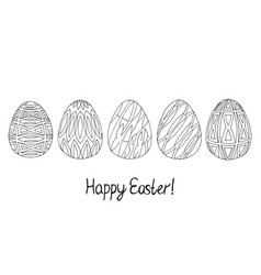 happy easter egg sketch collection black on white vector image vector image