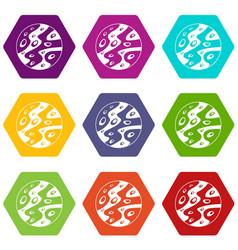 moon icon set color hexahedron vector image vector image