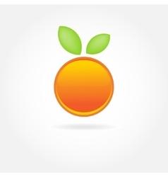 Orange fruit with green leaf logo design vector image