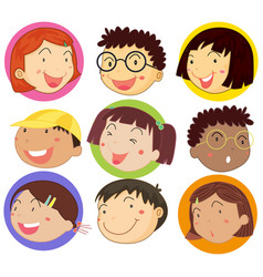 children with happy face on round badges vector image
