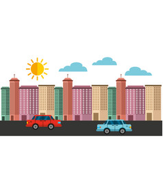 cityscape buildings skyline background vector image