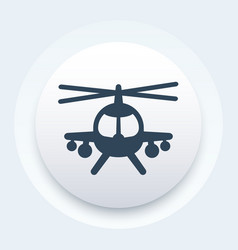 combat helicopter icon round pictogram vector image