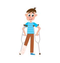 Flat boy with broken leg on crutches vector