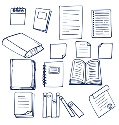 Hand drawn book documents notebook and sheets of vector image