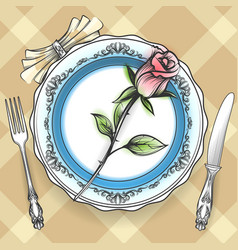 romantic table setting with rose vector image vector image