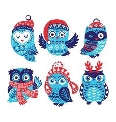 Christmas collection with cute little owls in vector image