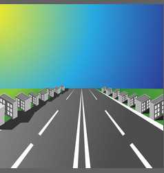 empty highway with small houses in the sunset vector image