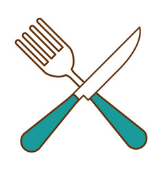 fork and knife cutlery tool icon vector image vector image