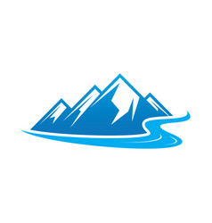 hiking logo mountain river icon vector image