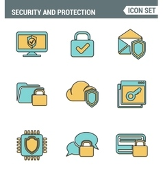 Icons line set premium quality of cyber security vector image vector image