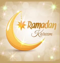 ramadan kareem golden crescent moon vector image