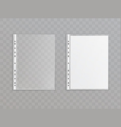3d realistic punched pocket plastic wallet vector