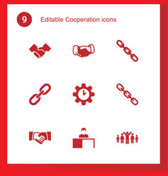 9 cooperation icons vector image