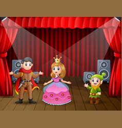 A prince and princess doing drama show on stage vector