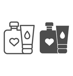 Baby cream bottles line and glyph icon lotion and vector