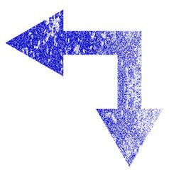 Bifurcation arrow left down grunge textured icon vector