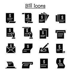 Bill receipt invoice contract icon set in thin vector