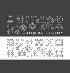 blockchain technology outline horizontal vector image