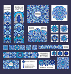 Blue banners business cards boho flower vector