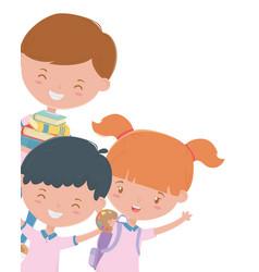 Boys and girl kid school design vector