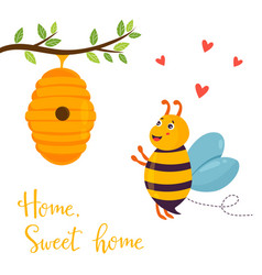 bright funny cartoon bee and beehive vector image