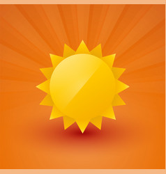 bright sun with rays on an orange background vector image