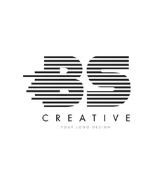 Bs b s zebra letter logo design with black and vector