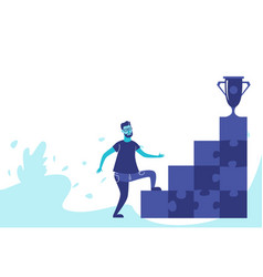 businessman climbing career ladder top trophy cup vector image