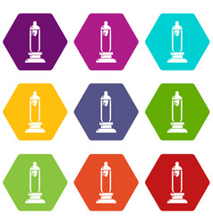 Car candle icons set 9 vector