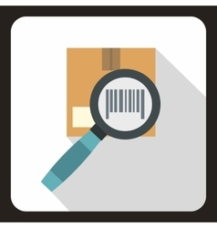 Cardboard box and magnifying glass icon flat style vector image