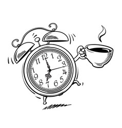 cartoon alarm clock with cup coffee ringing vector image