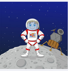 cartoon boy astronaut standing on moon vector image