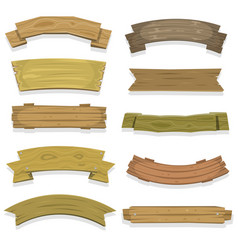 cartoon wood banners and ribbons vector image