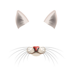 Cat animal face filter template video chat photo vector